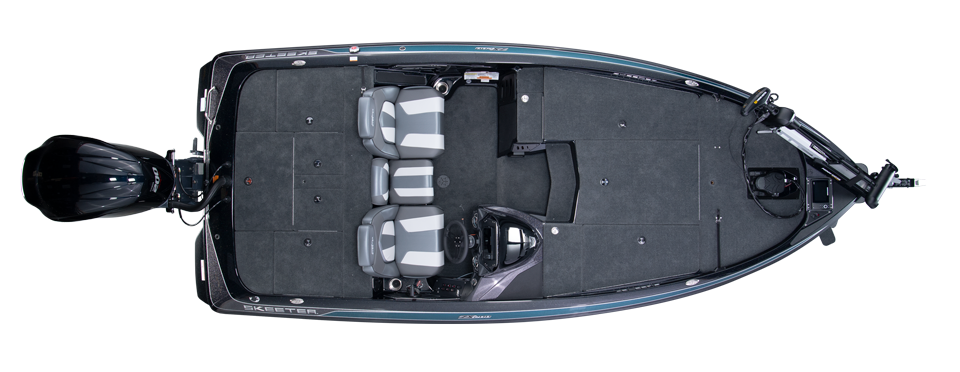 2020 Skeeter ZX200 Bass Boat For Sale overhead image with storage compartments closed.