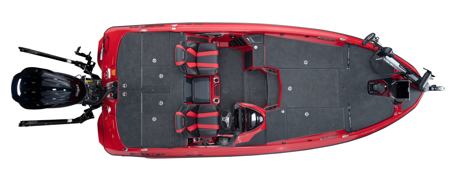 2020 Skeeter FXR20 APEX Bass Boat For Sale overhead image with storage compartments closed.