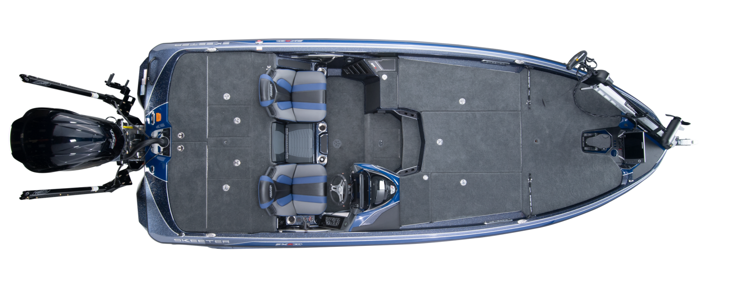 2020 Skeeter FXR21 LIMITED Bass Boat For Sale overhead image with storage compartments closed.