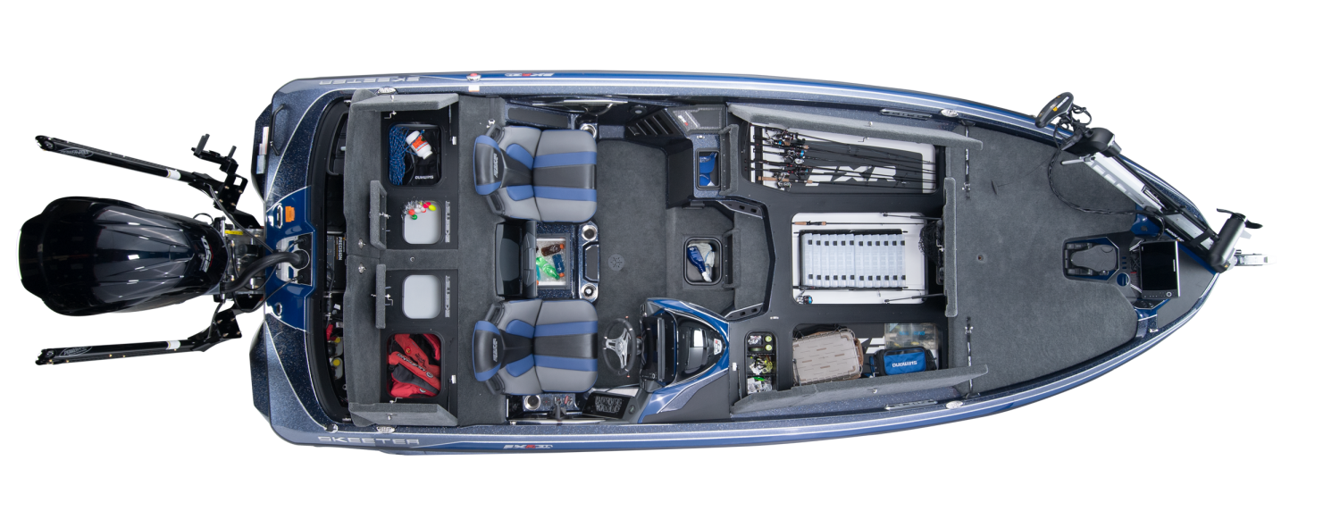 2020 Skeeter FXR21 LIMITED Bass Boat For Sale overhead image with storage compartments open.