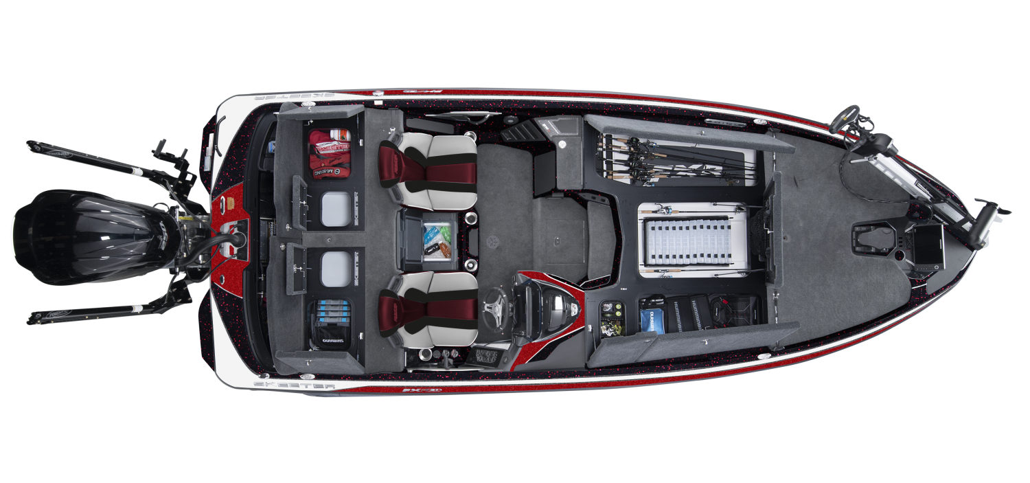 2020 Skeeter FXR21 Bass Boat For Sale overhead image with storage compartments open.