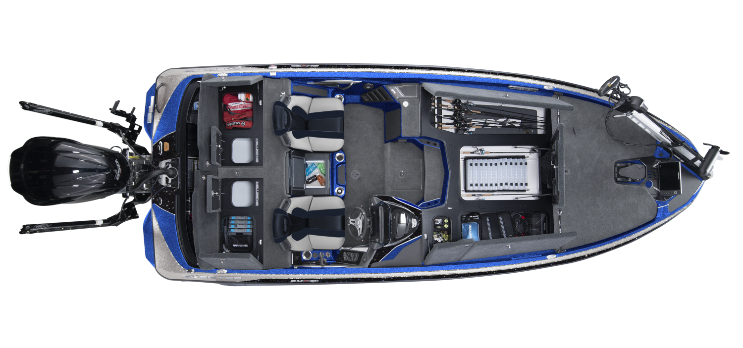 2020 Skeeter FXR20 Bass Boat For Sale overhead image with storage compartments open.