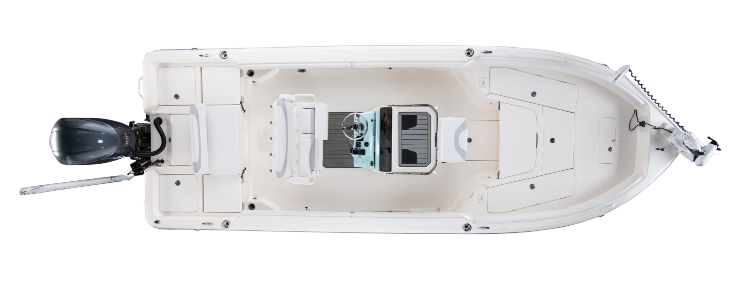2020 Skeeter SX2550 - FAMILY Bay Boat For Sale overhead image with storage compartments closed.