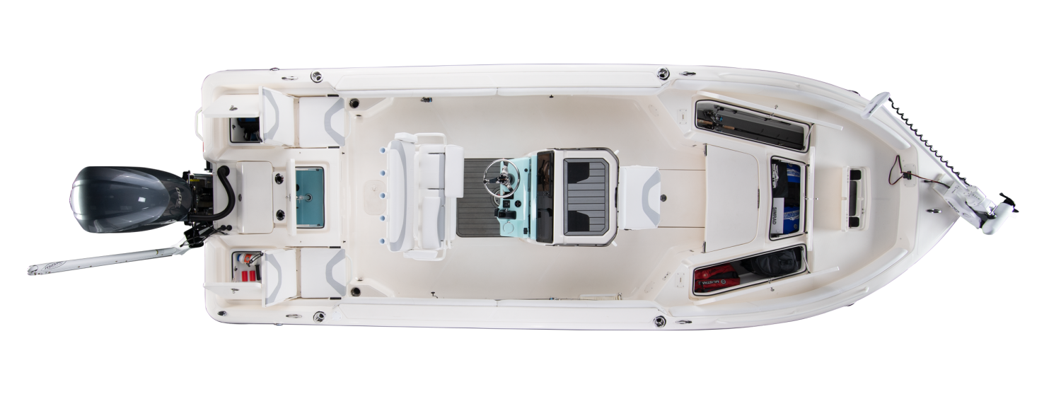 2020 Skeeter SX2550 - FAMILY Bay Boat For Sale overhead image with storage compartments open.