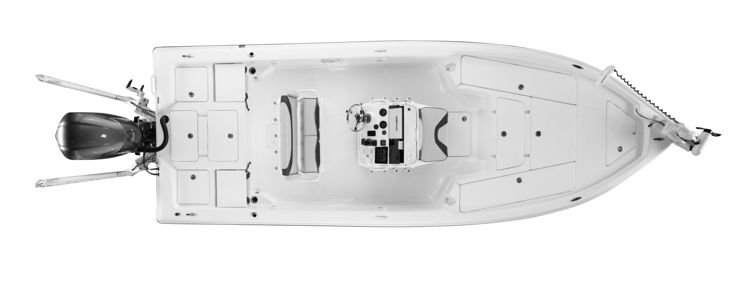 2020 Skeeter SX240 Bay Boat For Sale overhead image with storage compartments closed.