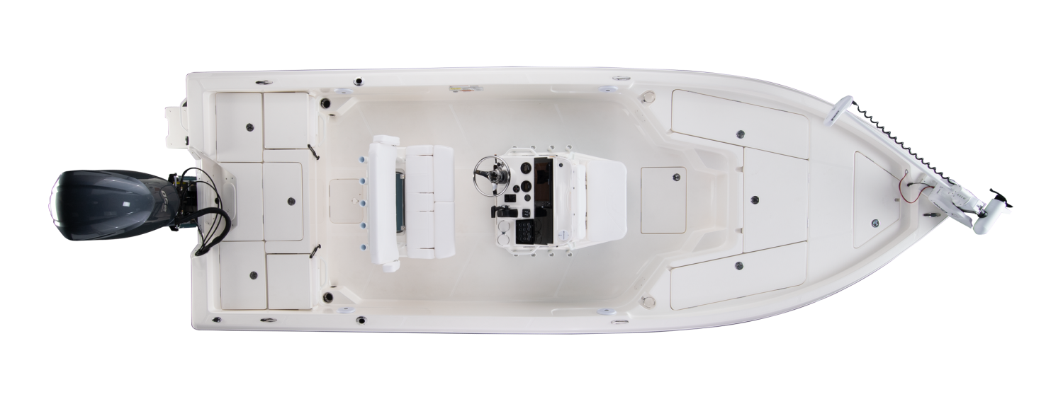 2020 Skeeter SX230 Bay Boat For Sale overhead image with storage compartments closed.