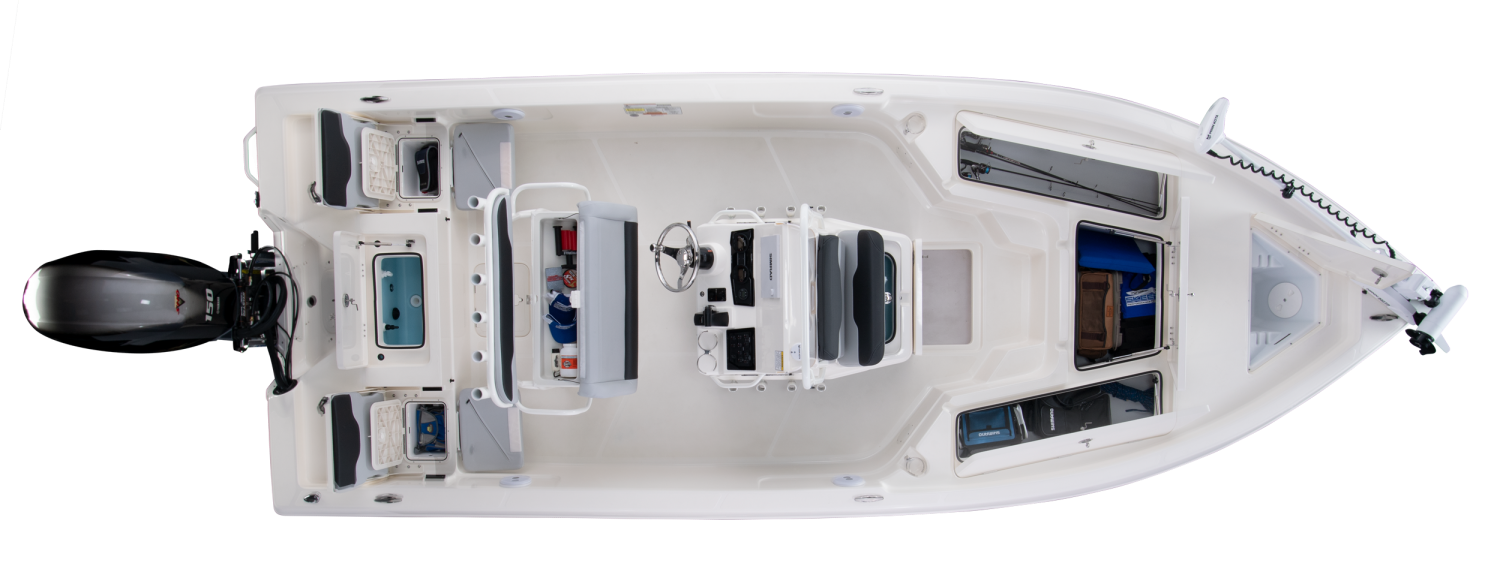 2020 Skeeter SX210 Bay Boat For Sale overhead image with storage compartments open.
