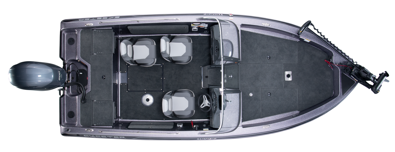 2020 Skeeter WX1910 Deep V Boat For Sale overhead image with storage compartments closed.