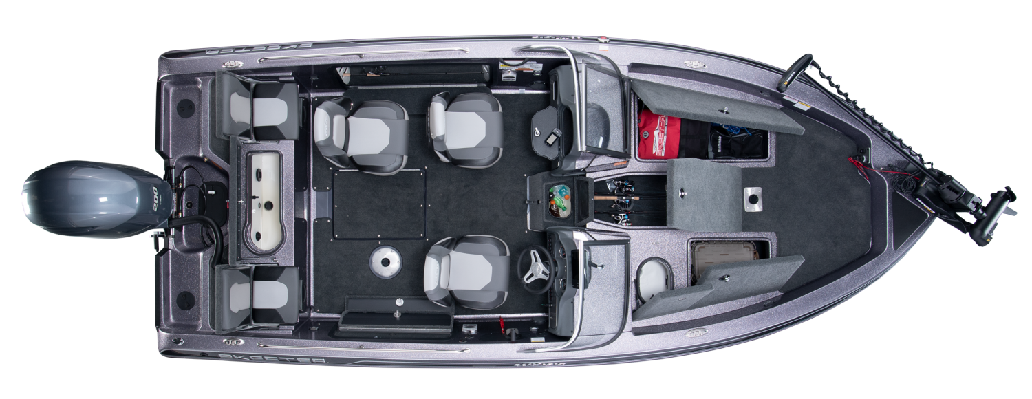 2020 Skeeter WX1910 Deep V Boat For Sale overhead image with storage compartments open.