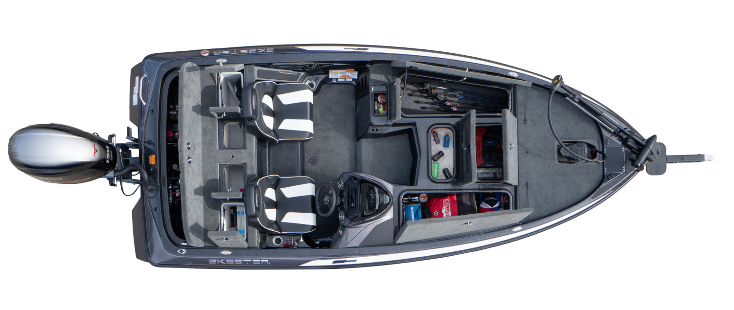2020 Skeeter ZX150 Bass Boat For Sale overhead image with storage compartments open.