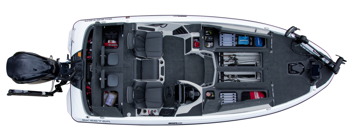 2021 Skeeter ZXR 20 Bass Boat For Sale overhead image with storage compartments open.