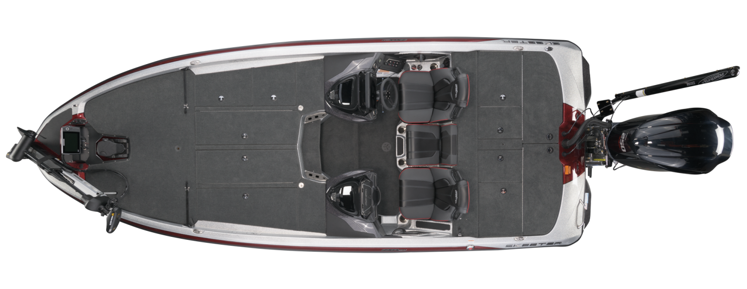 2021 Skeeter ZXR 21 Bass Boat For Sale overhead image with storage compartments closed.