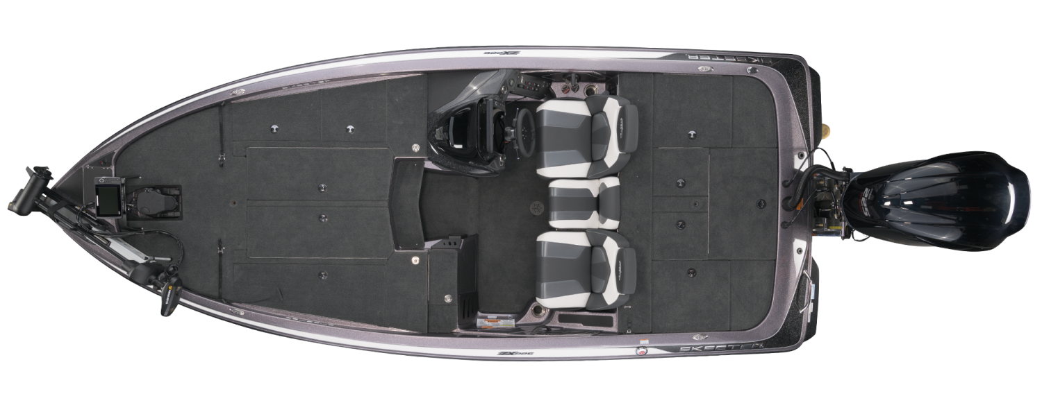 2021 Skeeter ZX225 Bass Boat For Sale overhead image with storage compartments closed.
