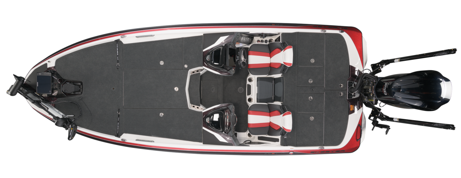 2021 Skeeter FXR21 LIMITED Bass Boat For Sale overhead image with storage compartments closed.