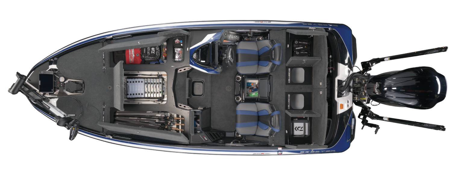 2021 Skeeter FXR20 LIMITED Bass Boat For Sale overhead image with storage compartments open.
