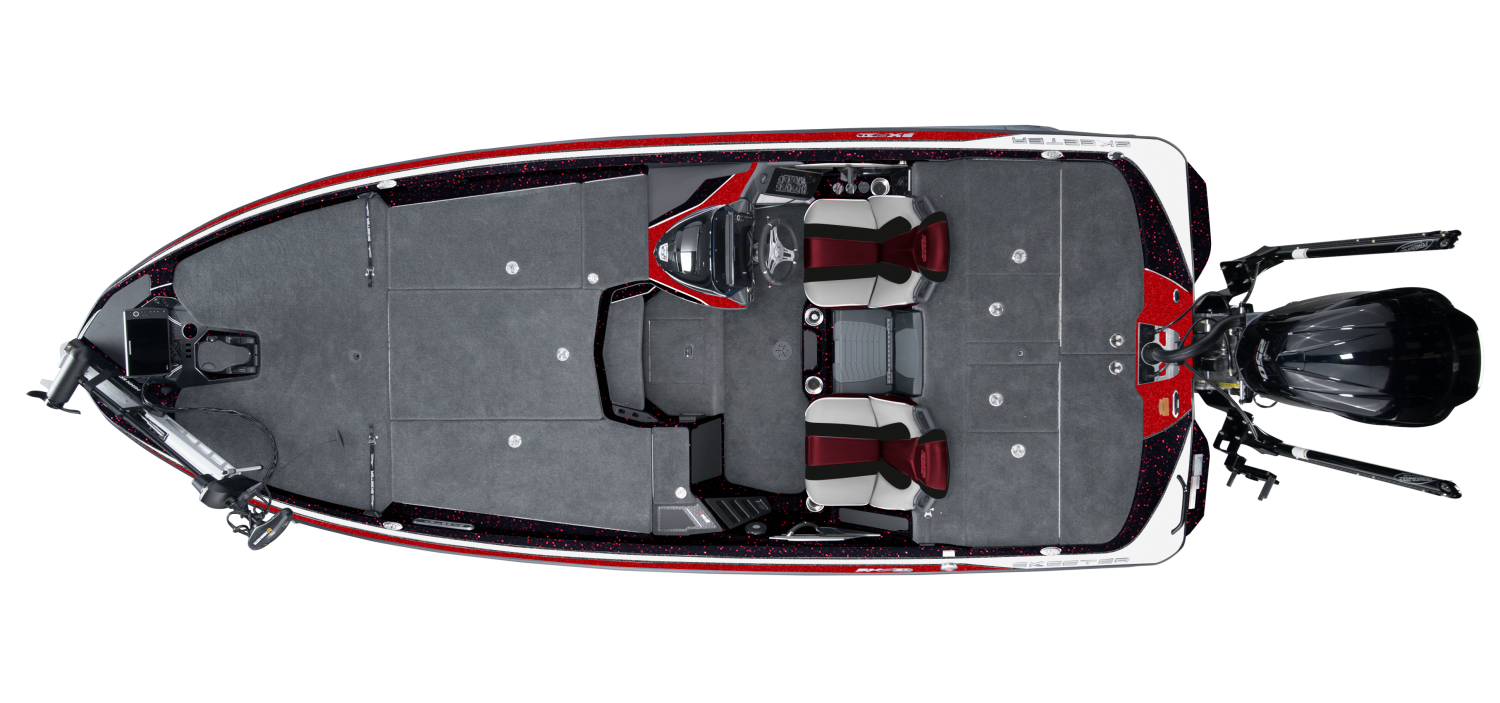 2021 Skeeter FXR21 Bass Boat For Sale overhead image with storage compartments closed.
