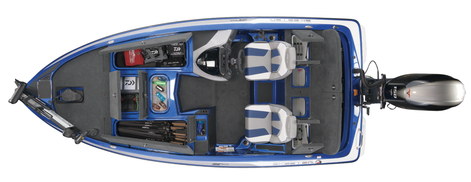 2021 Skeeter ZX150 Bass Boat For Sale overhead image with storage compartments open.