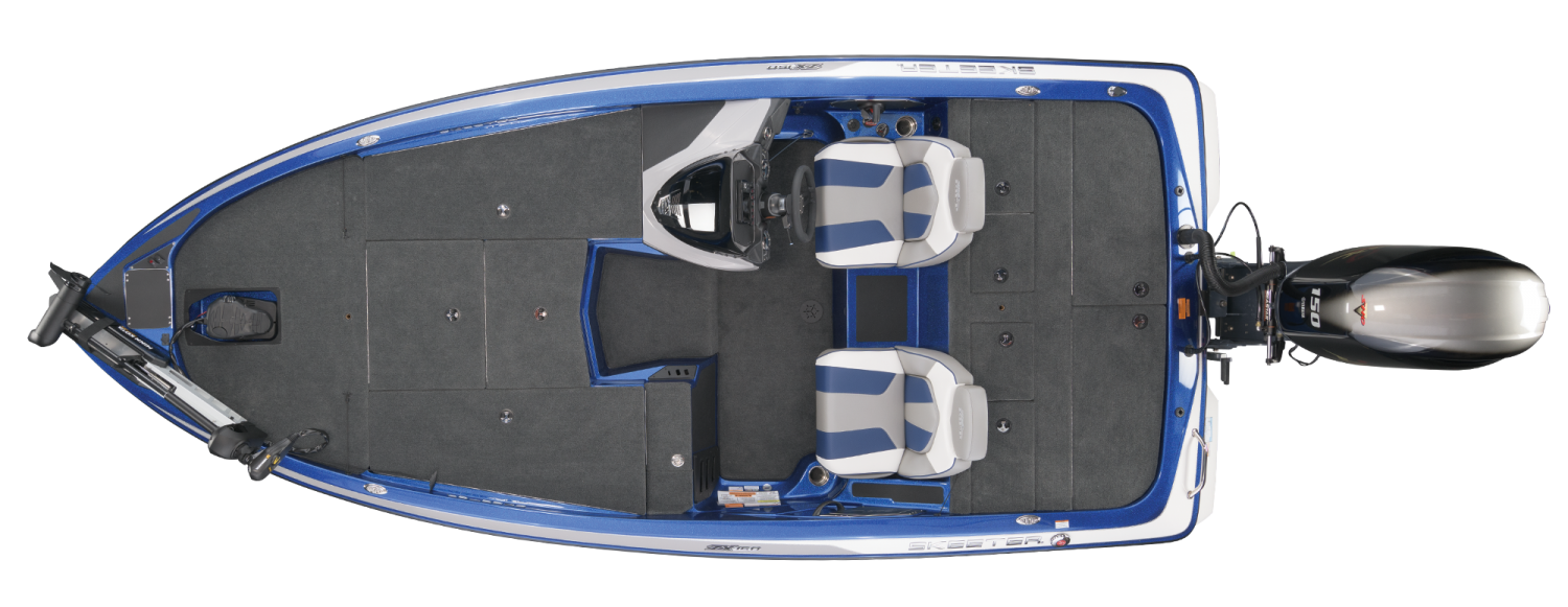 2021 Skeeter ZX150 Bass Boat For Sale overhead image with storage compartments closed.