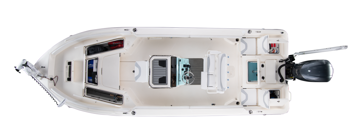 2021 Skeeter SX2550 FAMILY Bay Boat For Sale overhead image with storage compartments open.