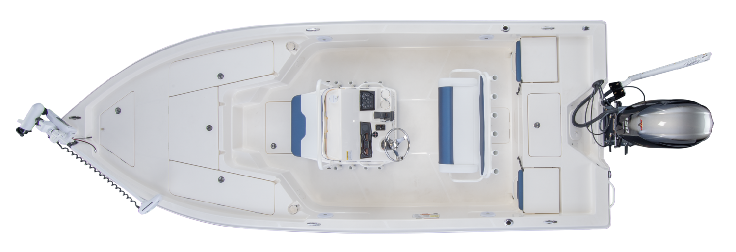 2021 Skeeter SX210 Bay Boat For Sale overhead image with storage compartments closed.
