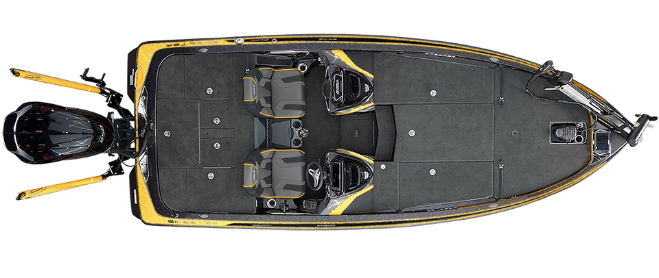2018 Skeeter FX21 LE Bass Boat For Sale overhead image with storage compartments closed.