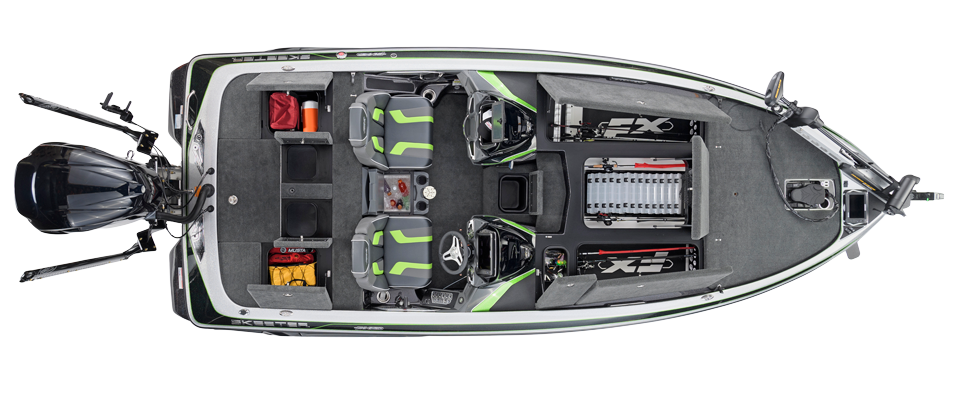 2018 Skeeter FX21 Bass Boat For Sale overhead image with storage compartments open.