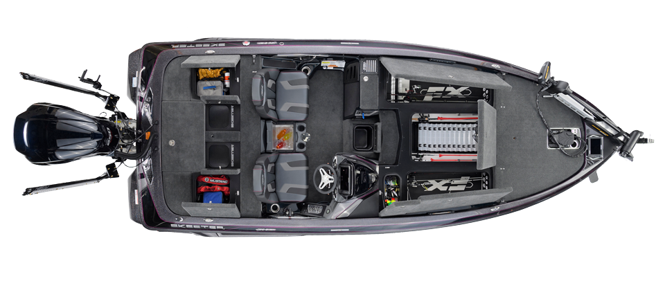 2018 Skeeter FX20 Bass Boat For Sale overhead image with storage compartments open.