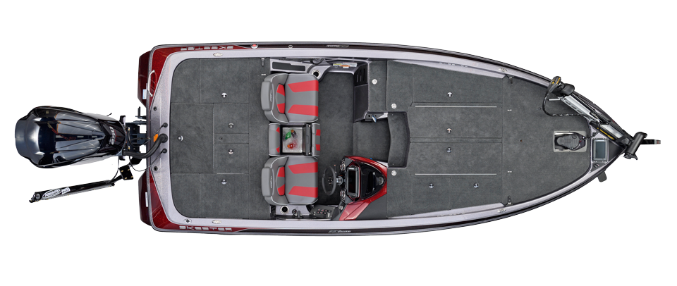 2018 Skeeter ZX250 Bass Boat For Sale overhead image with storage compartments closed.