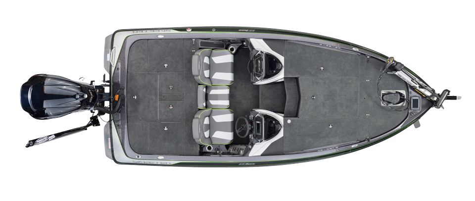 2018 Skeeter ZX200 Bass Boat For Sale overhead image with storage compartments closed.