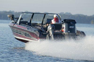 yamaha four stroke pushes deep v muskie boat