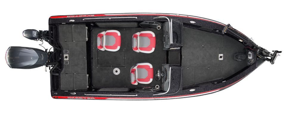 2018 Skeeter WX2190 Stock Deep V Boat For Sale overhead image with storage compartments closed.