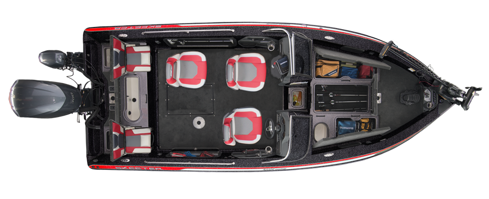 2018 Skeeter WX2190 Stock Deep V Boat For Sale overhead image with storage compartments open.
