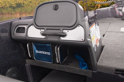 roomy passenger side console with grab handle