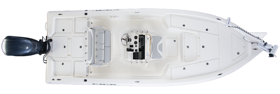 2018 Skeeter SX240 Bay Boat For Sale overhead image with storage compartments closed.