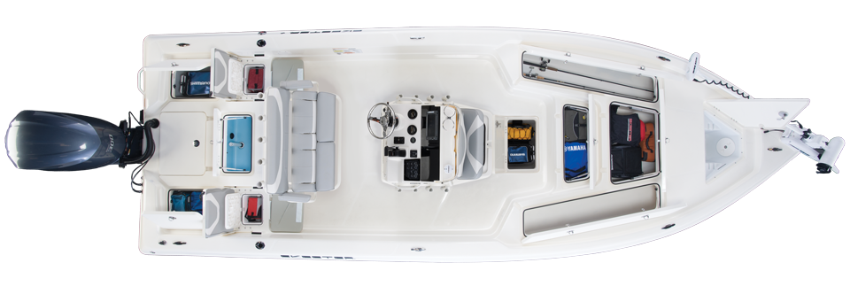 2018 Skeeter SX240 Bay Boat For Sale overhead image with storage compartments open.