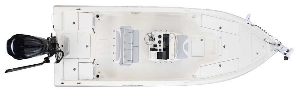 2018 Skeeter SX230 Bay Boat For Sale overhead image with storage compartments closed.