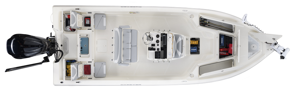 2018 Skeeter SX230 Bay Boat For Sale overhead image with storage compartments open.