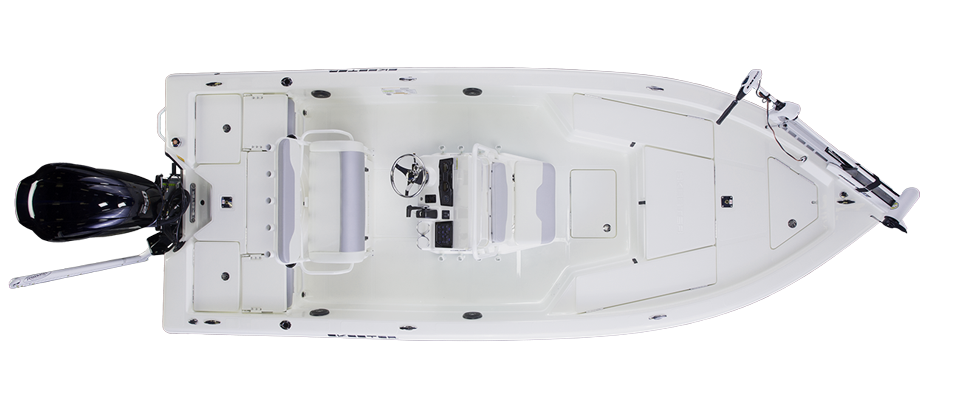 2018 Skeeter SX220 Bay Boat For Sale overhead image with storage compartments closed.