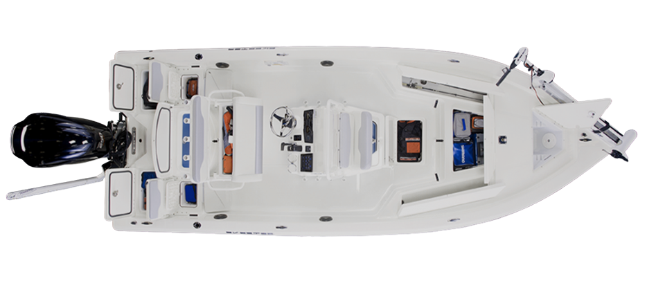 2018 Skeeter SX220 Bay Boat For Sale overhead image with storage compartments open.