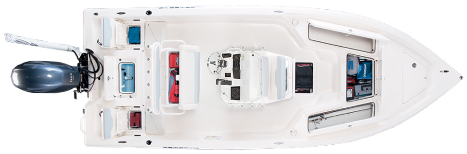 2018 Skeeter SX210 Bay Boat For Sale overhead image with storage compartments open.