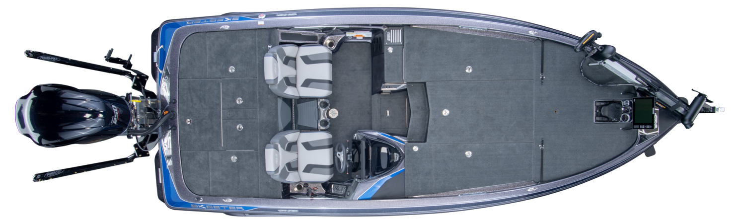 2019 Skeeter FX21 Bass Boat For Sale overhead image with storage compartments closed.