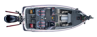 overhead photo of open compament on skeeter fx21 bass boat