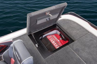 open rear deck storage compartment on skeeter bass boat