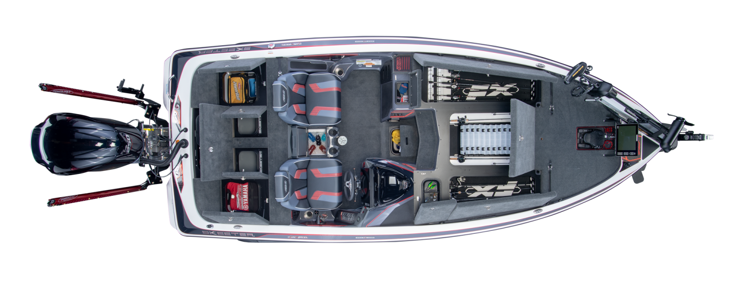 2019 Skeeter FX20 APEX Bass Boat For Sale overhead image with storage compartments open.