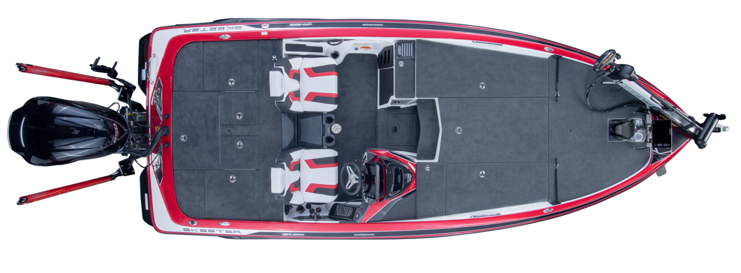 2019 Skeeter FX21 LE Bass Boat For Sale overhead image with storage compartments closed.