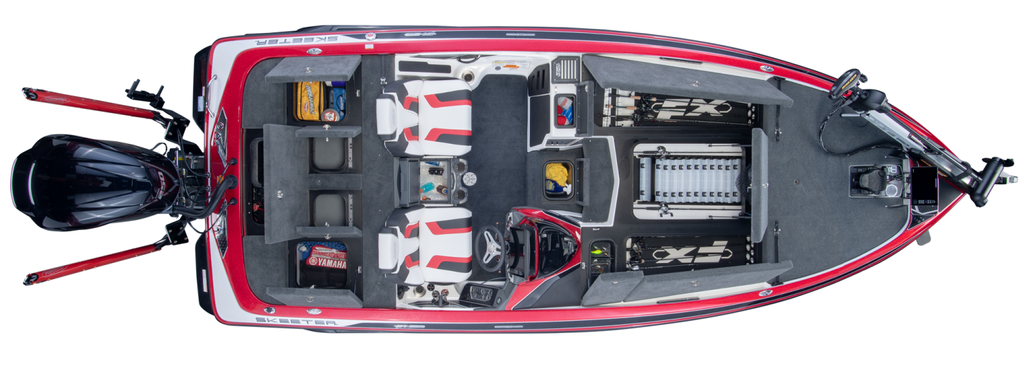 2019 Skeeter FX21 LE Bass Boat For Sale overhead image with storage compartments open.