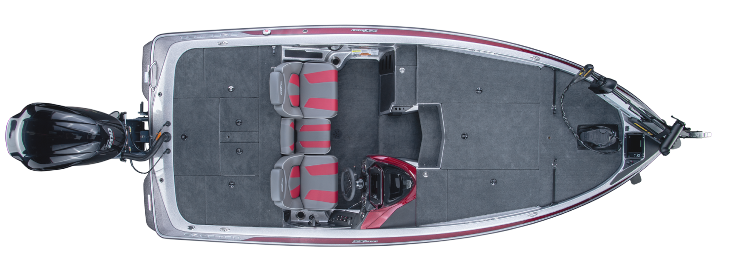 2019 Skeeter ZX200 Bass Boat For Sale overhead image with storage compartments closed.