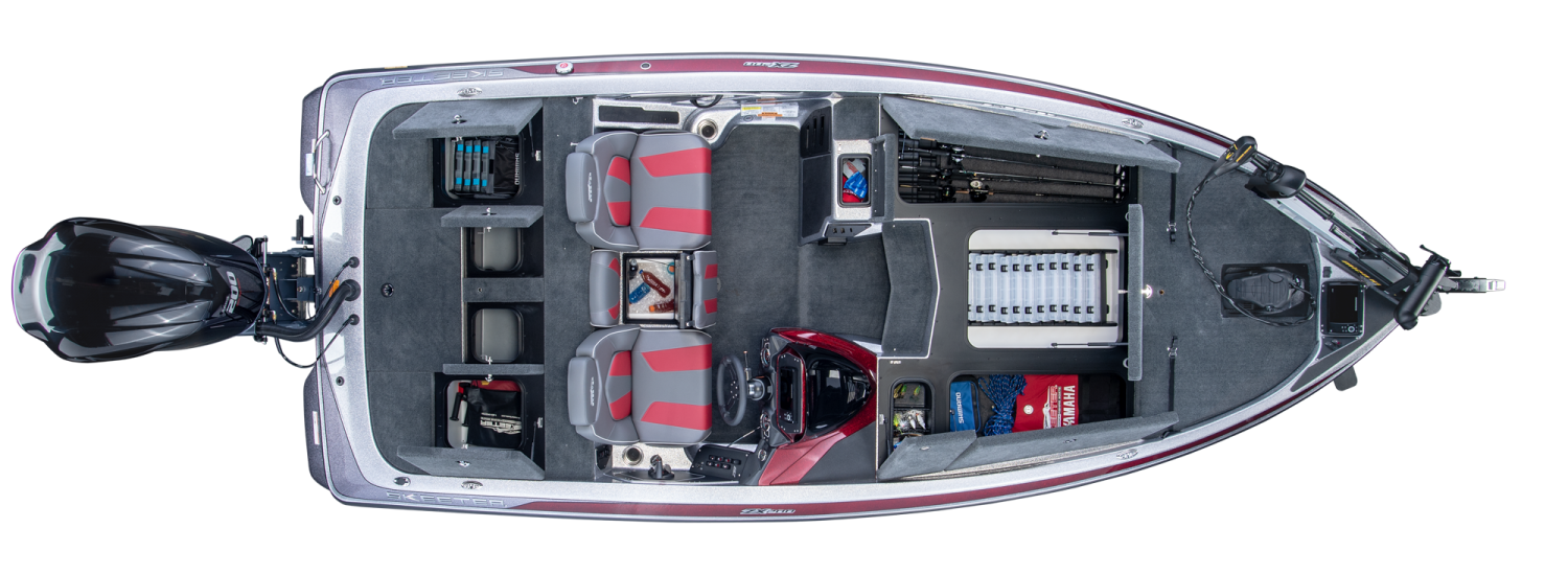 2019 Skeeter ZX200 Bass Boat For Sale overhead image with storage compartments open.