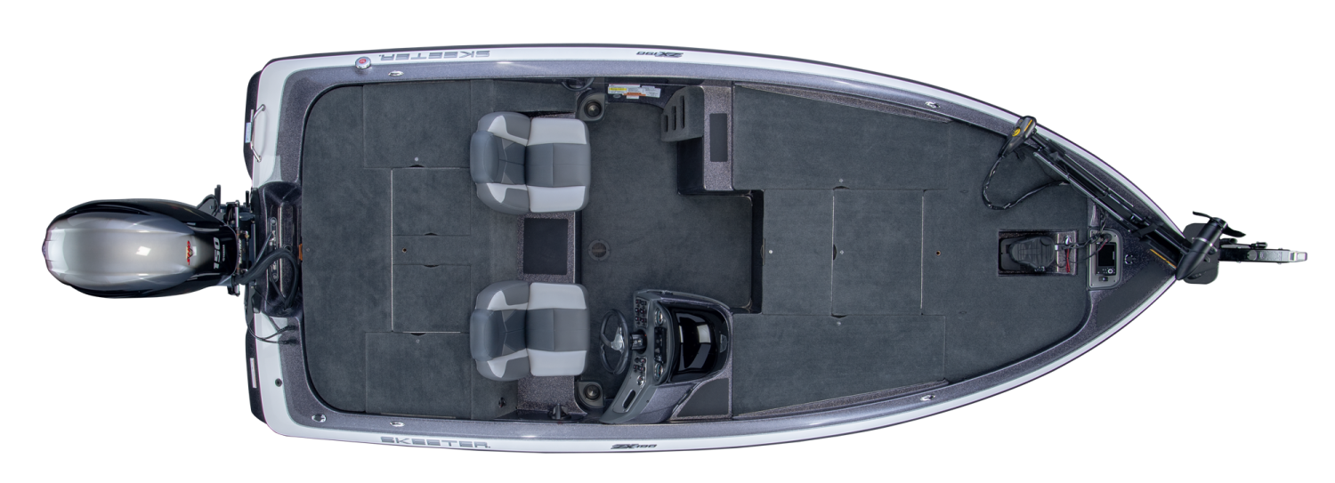 2019 Skeeter ZX190 Bass Boat For Sale overhead image with storage compartments closed.