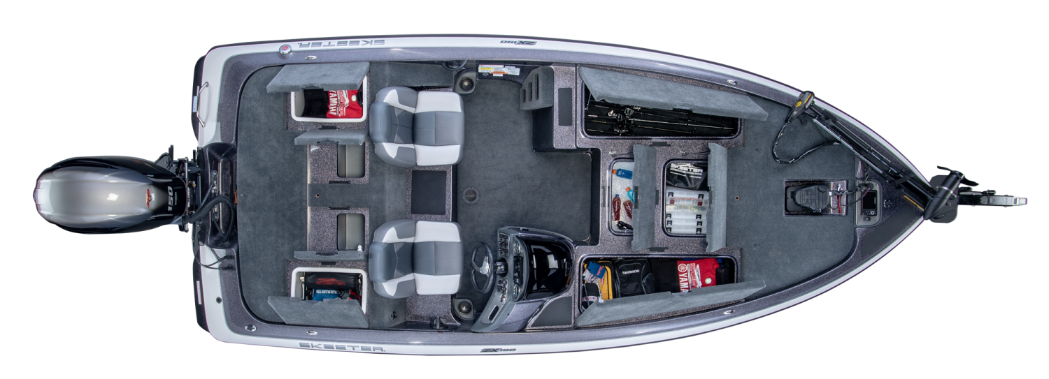 2019 Skeeter ZX190 Bass Boat For Sale overhead image with storage compartments open.